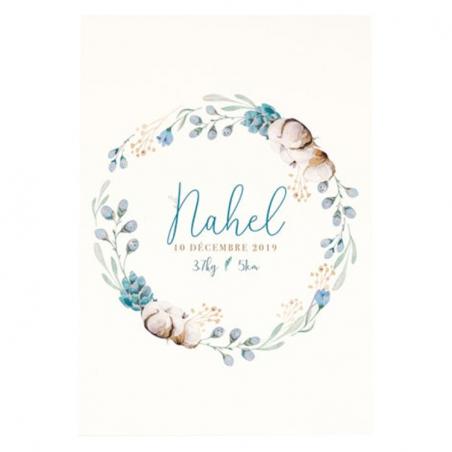 Affiche naissance personnalisée couronne fleurs de coton
