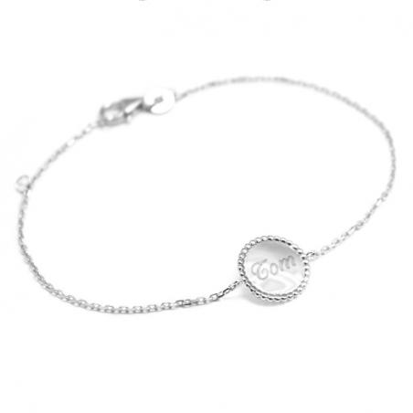 Bracelet personnalisé - Jeton perlé - Argent/Plaqué or