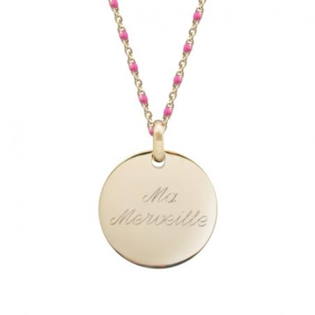Collier chaine émaillée personnalisé - Médaille simple - Plaqué or