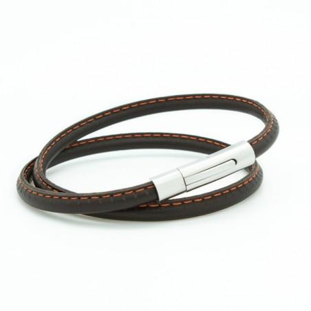 Bracelet homme acier et cuir - Le surpiqué