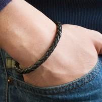 Bracelet homme acier & cuir...