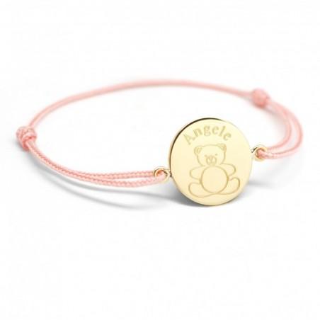 Bracelet cordon personnalisé - Ourson - Plaqué or