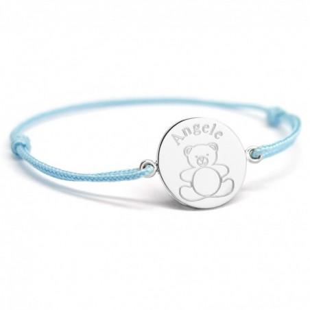 Bracelet cordon personnalisé - Ourson - Argent