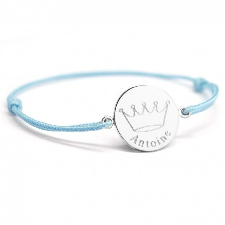 Bracelet cordon personnalisé - Couronne roi - Argent