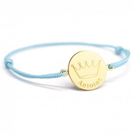 Bracelet cordon personnalisé - Couronne roi - Plaqué or