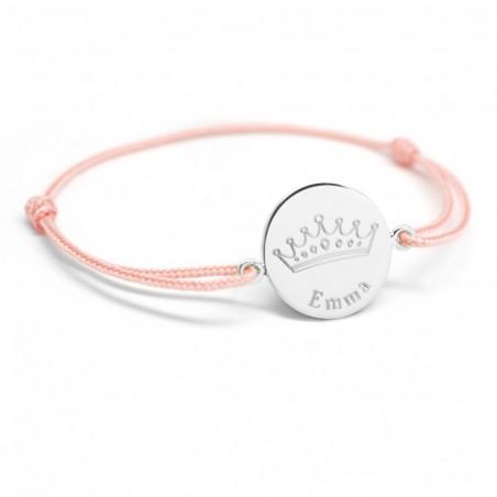 Bracelet cordon personnalisé - Couronne reine - Argent