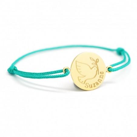 Bracelet cordon personnalisé - Colombe - Plaqué or