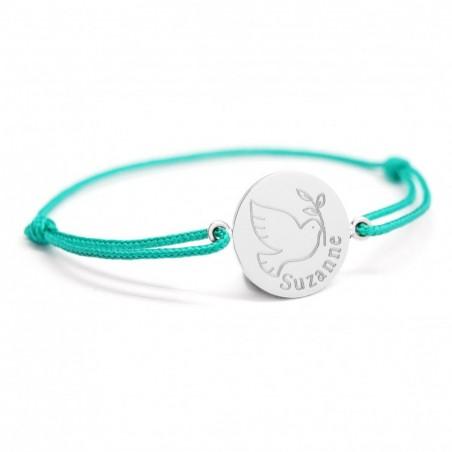 Bracelet cordon personnalisé - Colombe argent - Argent