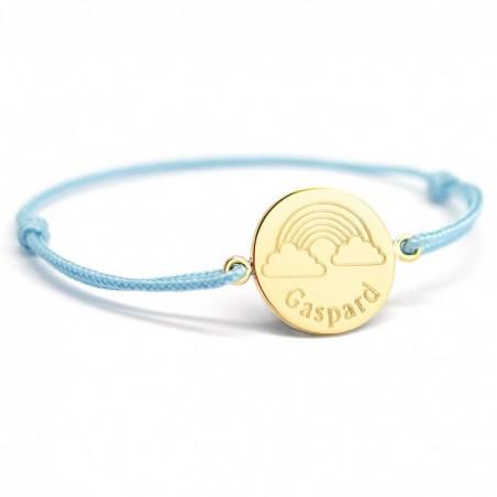 Bracelet cordon personnalisé - Arc-en-ciel - Plaqué or