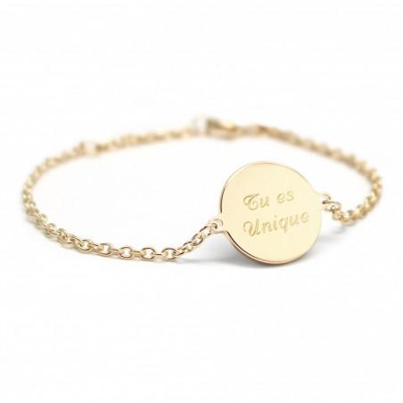 Bracelet personnalisé - Médaille - Argent/Plaqué or