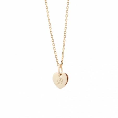 Collier personnalisé - Mini charm cœur - Argent/Plaqué or