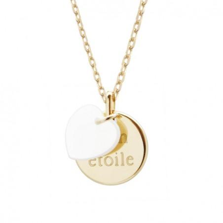 Pendentif enfant personnalisé - Médaille plaqué or et cœur en nacre