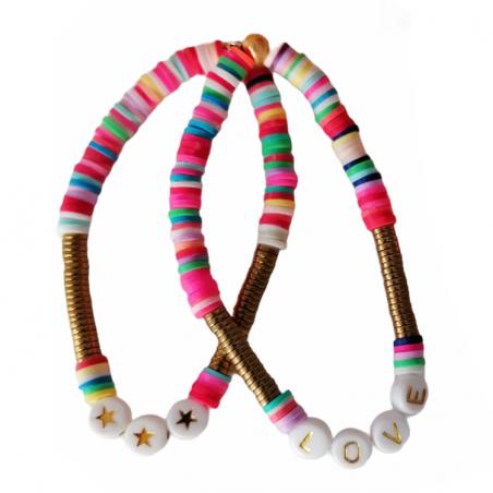 Bracelet personnalisé perles/lettres - Modèle Wonder - Perles Heishi