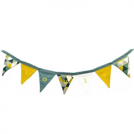 Guirlande fanions triangle vert/jaune garçon personnalisée - Cadeau naissance