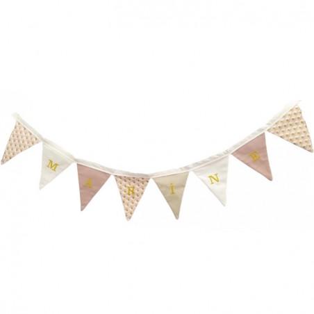 Guirlande de fanions triangle rose/doré fille personnalisée - Cadeau naissance