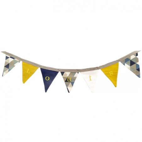 Guirlande fanions triangle bleu/beige garçon personnalisée - Cadeau naissance