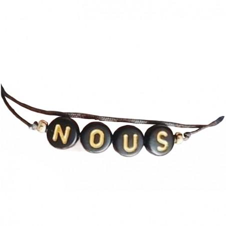 Bracelet perles-lettres noires personnalisé - Le midnight