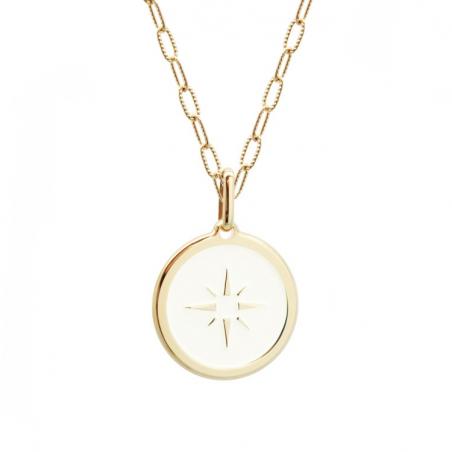 Pendentif médaille ivoire personnalisé - Plaqué or - Rose des vents