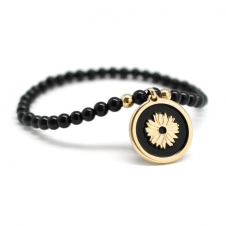 Bracelet perles - Médaille noire et fleur - Plaqué or