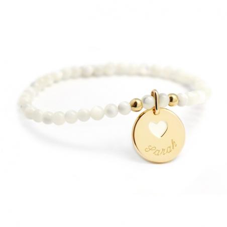 Bracelet perles - Médaille ivoire et cœur - Plaqué or