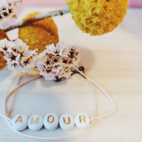 Bracelet perles blanches -...