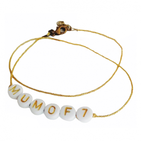 Bracelet perles blanches - lettres dorées personnalisé - Basic