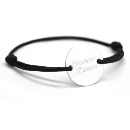 Bracelet homme personnalisé - Chic médaille argent - Fête des pères