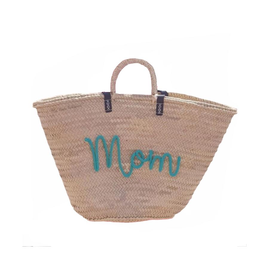 Panier de plage personnalisé - cadeau maman - pompons et trictotin
