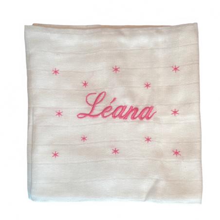 Lange blanc déjà personnalisé au prénom de Léana