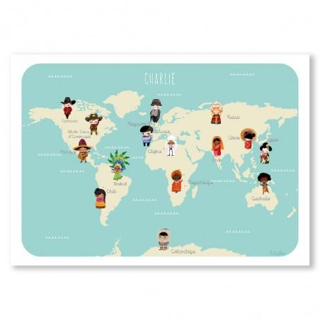 Affiche monde des enfants personnalisée