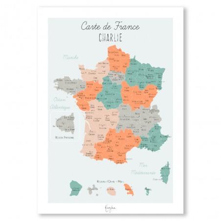 Affiche carte de la France personnalisée