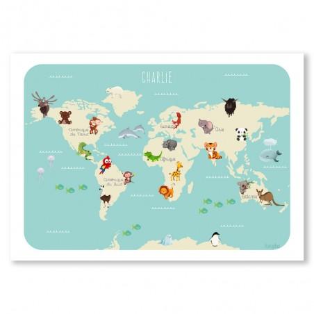 Affiche monde des animaux personnalisée