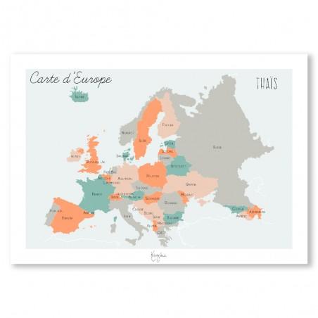 Affiche carte de l'Europe personnalisée