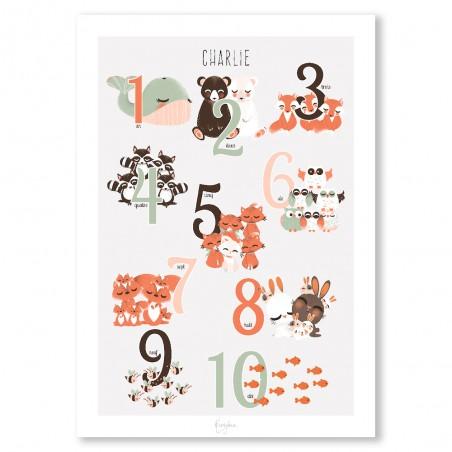 Affiche 123 animaux personnalisée