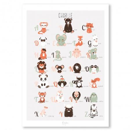 Affiche abécédaire animaux personnalisée Français/Anglais
