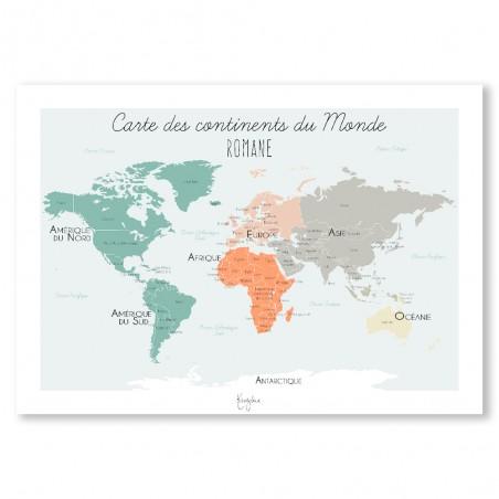 Affiche carte des continents du monde personnalisée
