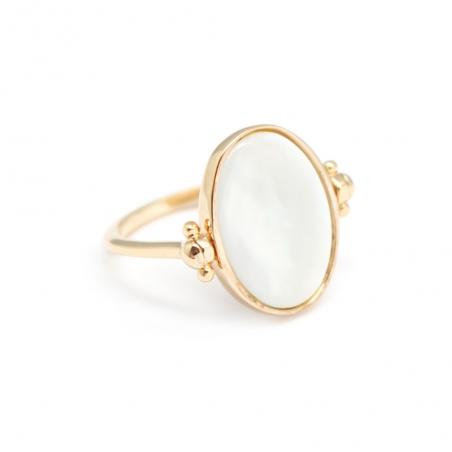Bague ovale personnalisée - Nacre plaqué or