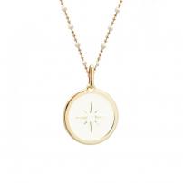Collier personnalisé médaille ivoire - Chaine perles émaillées - Plaqué or