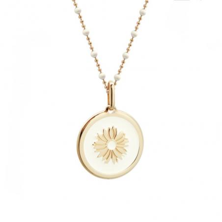 Collier personnalisé fleur ivoire - Chaine perles émaillées - Plaqué or