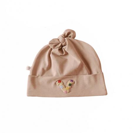 Bonnet bébé personnalisé taupe - Modèle Astro